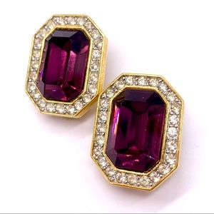 Givenchy Vintage Purple Crystal Gold Clip Earrings